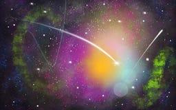 Schwarzer, grüner, purpurroter Raumillustrationshintergrund mit einem hellen weißen Kometen stock abbildung