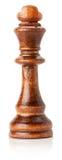 Schwarzer hölzerner Schachkönig auf dem weißen Hintergrund Stockfotos