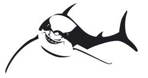 Schwarzer Haifisch mit großem Lächeln im Vektor Stockbild