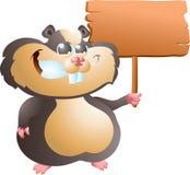 Schwarzer Hamster mit Zeichen Stockbild