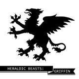 Schwarzer heraldischer Greif Stockbilder