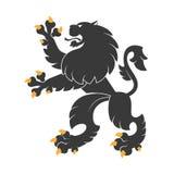 Schwarzer heraldischer Löwe Stockbilder
