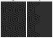 Schwarzer Hexagonpapierzusammenfassungshintergrund, -front und -rückseite Stockbilder