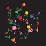 Schwarzer Hintergrund der bunten vibrierenden Blumen Lizenzfreie Stockfotos