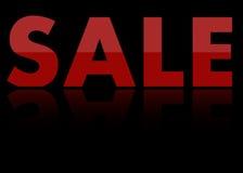 Schwarzer Hintergrund des Verkaufs mit Reflexion Stockfoto