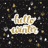 Schwarzer Hintergrund des Winters mit den Sternen und Monde und Hand, die gezeichnet werden, fasst hallo Winter ab lizenzfreie abbildung