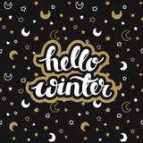 Schwarzer Hintergrund des Winters mit den Sternen und Monde und Hand, die gezeichnet werden, fasst hallo Winter ab vektor abbildung