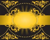 Schwarzer Hintergrund mit einem horizontalen goldenen Streifen Stockfotos