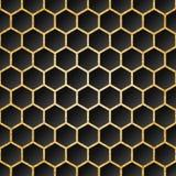 Schwarzer Hintergrund mit goldenem strukturiertem sechseckigem Gitter Stock Abbildung