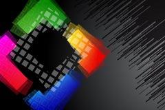 Schwarzer Hintergrund mit Regenbogen farbiger Form Lizenzfreie Stockfotografie