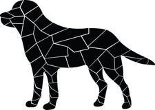 Schwarzer Hund Unterbrochener Glaseffekt lizenzfreie abbildung