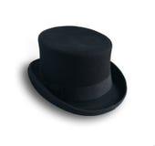 Schwarzer Hut auf weißem Hintergrund Stockbilder