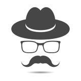 schwarzer Hut mit dem Schnurrbart und den Gläsern lizenzfreie abbildung