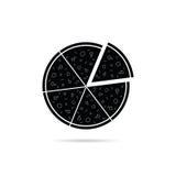 Schwarzer Ikonenvektor der Pizza Stockfotos
