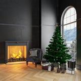 Schwarzer Innenraum mit Weihnachtsbaum, Lehnsessel, Geschenken, Wänden und Kamin vektor abbildung