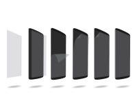 Schwarzer intelligenter Telefonschutzfilm auf gesetztem unterschiedlichem Winkel des Schirmes lizenzfreie abbildung