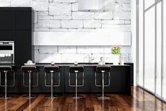 Schwarzer Kücheninnenraum mit modernen Möbeln Stockfotografie
