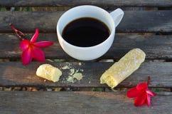Schwarzer Kaffee mit Zucker Lizenzfreies Stockfoto
