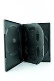 Schwarzer Kasten für DVD- oder CD-Scheibe mit DVD- oder CD-Scheibe Stockbild