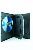 Schwarzer Kasten für DVD- oder CD-Scheibe mit DVD- oder CD-Scheibe Lizenzfreie Stockfotografie