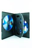Schwarzer Kasten für DVD- oder CD-Scheibe mit DVD- oder CD-Scheibe Lizenzfreie Stockfotos