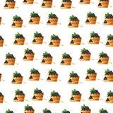 Schwarzer Kaviar in einem hölzernen nahtlosen Muster des Fasses und des Löffels Rogenikonenillustration Russischer traditioneller Lizenzfreie Stockbilder