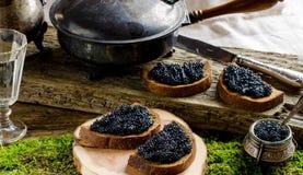 Schwarzer Kaviar und Wodka Abbildung der roten Lilie Lizenzfreies Stockfoto