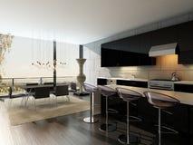 Schwarzer Kücheninnenraum mit Barhockern und Speisetische Stockbild