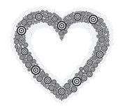 Schwarzer Kreis weißes BG des Herzens Stockbilder