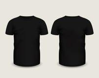 Schwarzer kurzer Ärmel das T-Shirt der Männer in der Front und in den hinteren Ansichten Rand der Farbband-, Lorbeer- und Eichenb lizenzfreie abbildung