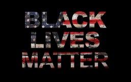 Schwarzer Lebenangelegenheitsslogan auf amerikanischer Flagge lizenzfreies stockbild