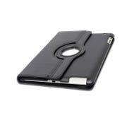 Schwarzer lederner Tablet-Computer-Kasten auf einem Weiß Stockfotografie