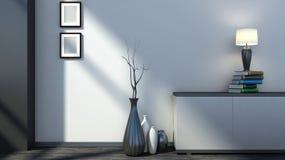 Schwarzer leerer Innenraum mit Vasen und Lampe Stockbilder