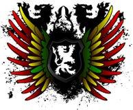 Schwarzer Lion Rasta Shield Lizenzfreie Stockbilder