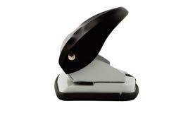 Schwarzer Locher lokalisiert auf weißem Hintergrund Stockfotografie