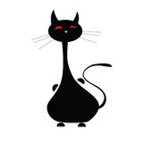 Schwarzer lustiger Illustrationsvektor der Katze Stockbilder