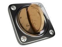 Schwarzer Münzenakzeptant für Aufnahme von Zahlungen Stockfotografie