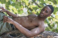 Schwarzer Mann auf dem Baum Lizenzfreie Stockfotos