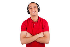 Schwarzer Mann, der den Spaß hört Musik hat stockbild