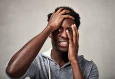 Schwarzer Mann der Krise Stockfotografie