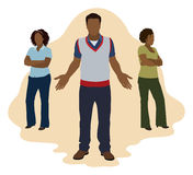 Schwarzer Mann, der zwischen 2 Frauen wählt Lizenzfreie Stockbilder