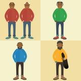 Schwarzer Mann Eine zeitgenössische Art Flaches Design des Vektors Stockbilder