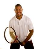 Schwarzer Mann im weißen Hemd betriebsbereit zum Serve stockfotos