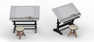 Schwarzer metallischer Zeichentisch mit Werkzeugen und Schemel, Abschneidenpa Stockbilder