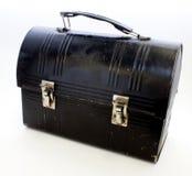 Schwarzer Metalllunchbox Stockfoto