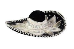 Schwarzer mexikanischer Hut lokalisiert auf Weiß stockfotografie