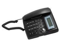 Schwarzer moderner Telefonanruf mit der Schnur an lokalisiert Lizenzfreie Stockfotos