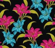 Schwarzer nahtloser mit Blumenhintergrund Lizenzfreies Stockbild