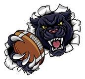 Schwarzer Panther-amerikanischer Fußball-Maskottchen Lizenzfreie Stockfotos