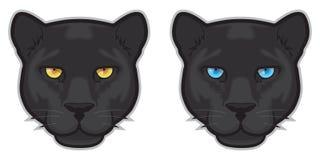 Schwarzer Panther-Gesichter Lizenzfreies Stockfoto